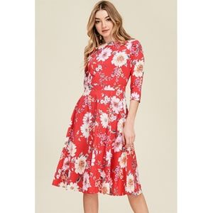 Red Floral 3/4 Sleeve Ribbon Dress.  NWT